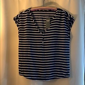 NWT Abercrombie & Fitch XS navy/ white stripe